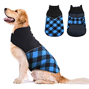 Kuoser Dog Winter Coat, Reflective Cold Weather Dog Jacket, Reversible British Style Plaid Dog Coat Warm Cotton Thickened Vest Windproof Outdoor Apparel for Small Medium and Large Dogs