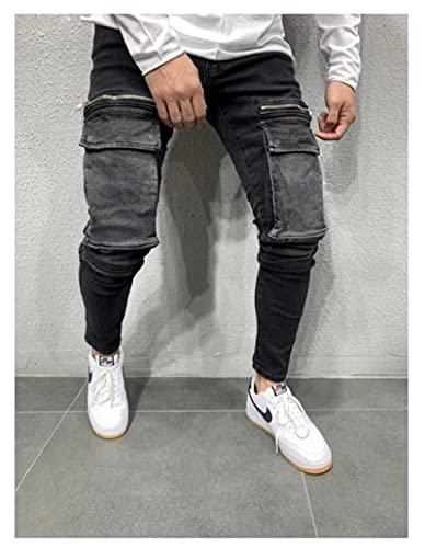 ShZyywrl Pantalones Jeans Jean Pantalones Vaqueros Ajustados Multibolsillos para Hombre, Pantalones Lápiz para Hombre, Pantalones Vaqueros De Moda, Pantalones