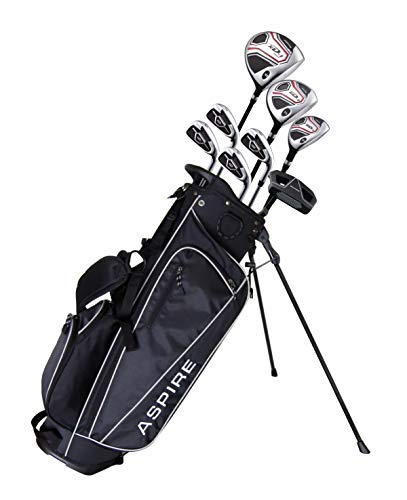 """Aspire XD1 Teenager Complete Golf Set Includes Driver, Fairway, Hybrid, 7, 8, 9, Wedge Irons, Putter, Stand Bag, 3 HC'S Teen Ages 13-16 Right Hand - Height 5'1"""" - 5'6"""""""