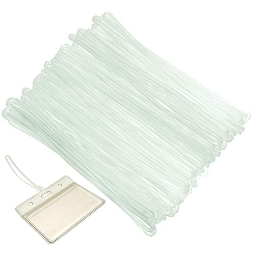 Premium 50 Pcs Clear Plastic Luggage Name Tag Straps Transparent Worm Loops for Bag ID Card