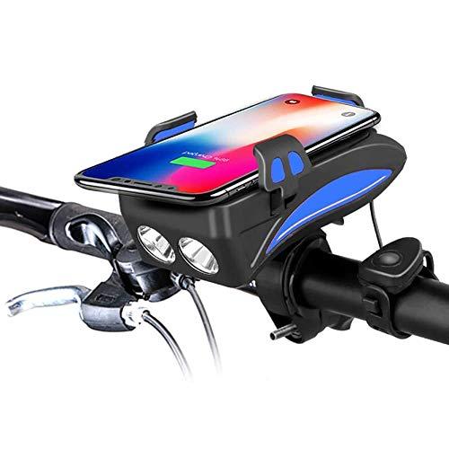 Luci Bicicletta LED,Porta Telefono Bici con Power Bank 3000Mah/6000Mah, Avvisatore Acustico da 50/70/90/120/150 Db, Adatto per Modelli di Telefoni Cellulari da 3,9 in-6,8 in,Blu,3000mAh