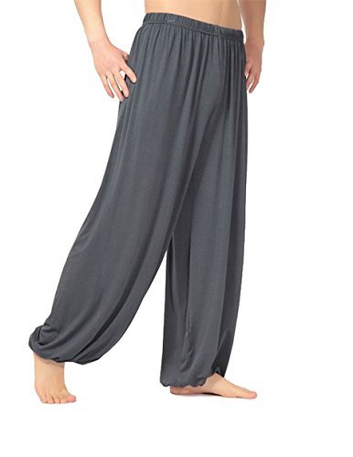 HOEREV Men's Super Soft Modal Spandex Harem Yoga/ Pilates Pants, Darkgrey, Large