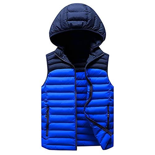 Chaleco para hombre de ajuste delgado, sin mangas, chaleco casual al aire libre, chaleco de otoño y invierno, chaqueta con capucha, Azul cielo + azul oscuro, L