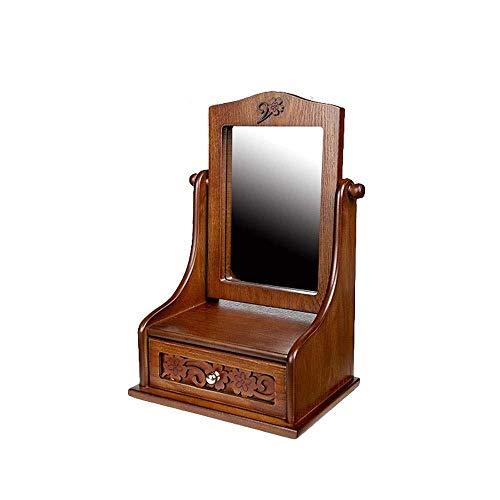 Hancoc Joyería/cosmética de madera grande con espejo, tocador de madera, espejo cosmético con cajón de almacenamiento para tocador de baño