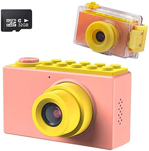 Kriogor Macchina Fotografica Bambini, Impermeabile Fotocamere Digitali Subacquea, Regalo di Compleanno per Bambino, 1080P Videocamera / 8 Megapixel/ LCD da 2 Pollici /Scheda TF da 32G(Rosa)