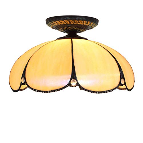 HHYHOME 12 in Tiffany Ceiling Light Baroque Warm Color Stained Glass Pendent Lamp Retro Chandelier for Living Room Restaurant Bar Bedroom Exhibition Hall Balcony Aisle Bathroom Study Room