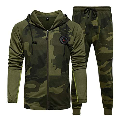 Azastar heren joggingpak hoodie trainingspak sportpak camouflage gym tracksuit Sportwear