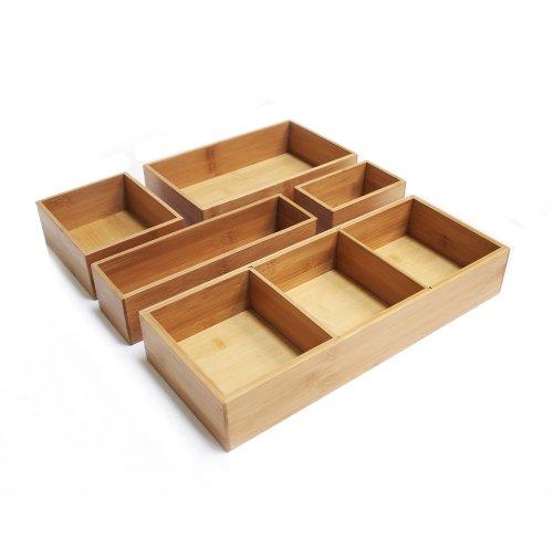 Seville Classics 5-Piece Bamboo Storage Organizer, 5 pc/w Dividers