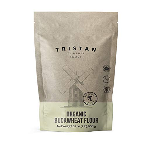 Tristan Foods Gluten Free Organic Buckwheat Flour (2 lbs.) High Fiber and Protein | Vegan Friendly | Cooking, Baking, Batter | Cultivated in Canada