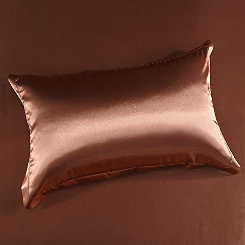 Pillowcase Mulberry Silk Pillowcase Pure Color Satin Beauty Pillowcase For Hair And Skin 48*74Cm-Light Brown_48*74Cm (Pair)