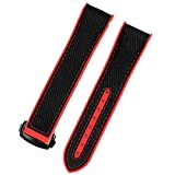 TGGFA Nylon Rubber Watchband for Omega Men Deployant Clasp Strap Watch Accessorie Silicone Watch Bracelet Chain (Band Color : Red Black Clasp, Band Width : 22mm)