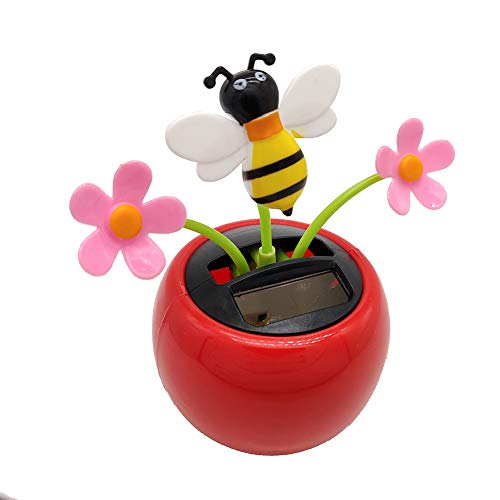 yingyue Cute Creative Dancing Flower Bee Model Solar Powered Swing Toy Car Ornament Home Office Decor Gift