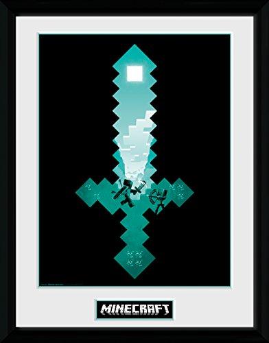 GB Eye Minecraft, Espada de Diamante Impresión enmarcada, Multicolor, 30x 40cm