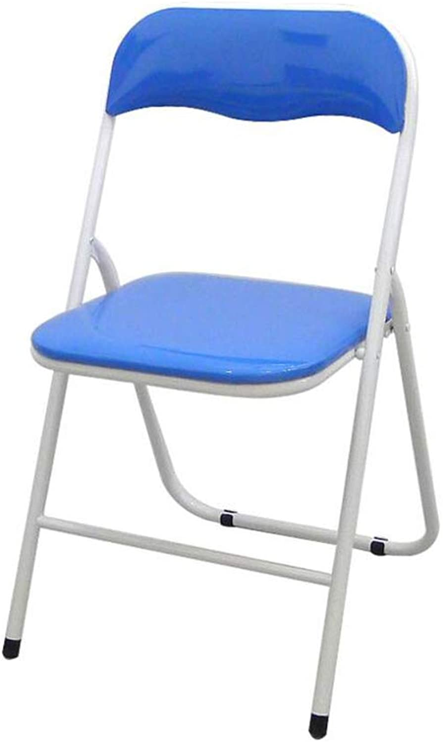 FENGFAN Chair Folding Steel Frame Padded High 4 color Bar Stools Seat Home Office Breakfast Kitchen (color   bluee)