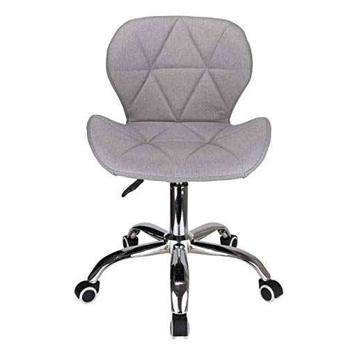 Trintion 360° Comfortable Lightweight Compact Desk Computer Chair Padded Swivel Fabric Home Office Modern Chair Cushioned Chrome Castors Height Adjustable (Grey Linen)