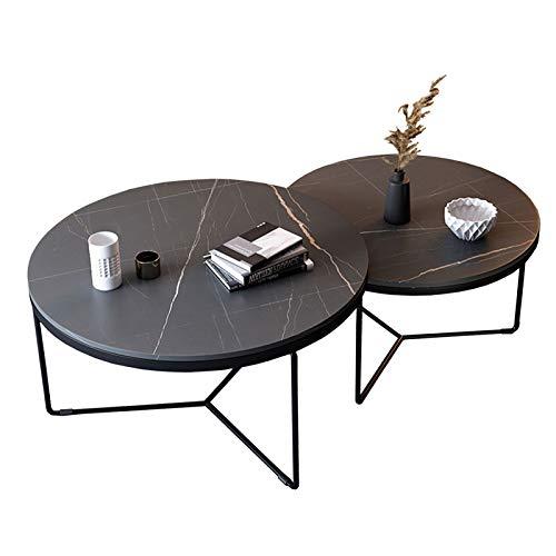 Amrai 2er-Set runder Couchtisch, schwarzer Wohnzimmertisch in modernem Design, Nestsofa-Tisch, robuste Sinter-Steinplatte, Stall