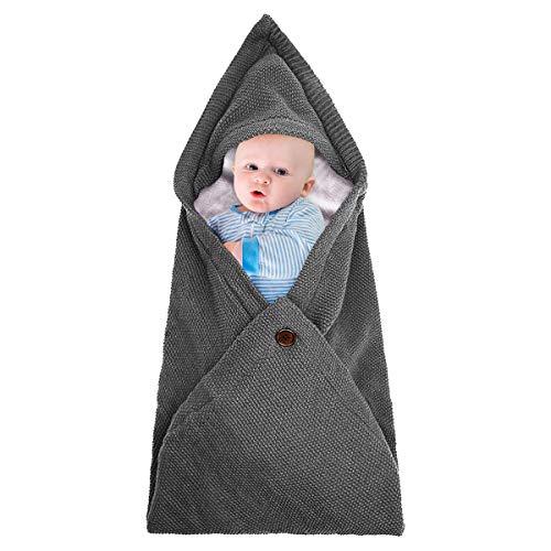 Warme Decke Neugeborenen Schlafsack, Danolt Kids Baby Schlafsack, 0–12 Monate Neugeborene, Jungen und Mädchen, Grau + Weiß