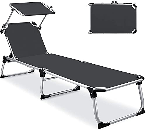 FCPLLTR Ultralight Camping Stuhl Faltende Chaiselongue, Einstellbarer Strandstuhl mit Sonnenkanach, Null-Gravity-Patio-Liegenstuhl, für Terrassen-Hof Pool-Sonnenbaden im Freien