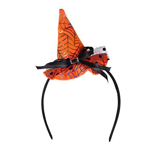 Healifty Halloween Heabands Mini chapéu de bruxa pontudo laço de cabelo para meninas mulheres Halloween Cosplay Party acessórios de cabelo (laranja), Orange Web, Medium, 1