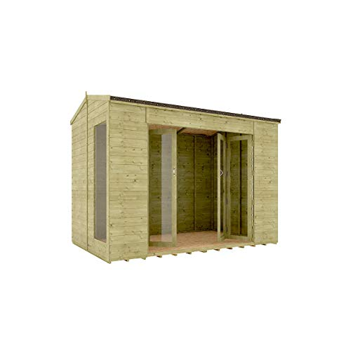 10 x 6 Pressure Treated Cannes Summerhouse Tongue & Groove Shiplap Cladding Construction Wide Double French Door 3.04m x 1.82m