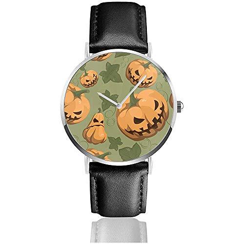 Eamless Halloween-Muster mit Kürbis-Art- und Weisearmbanduhr-Geschäfts-Leder-Uhr