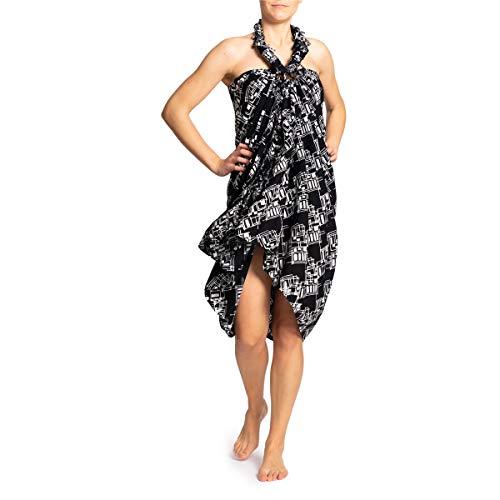 PANASIAM Sarong en blanco y negro, chal, toalla de playa, vestido envolvente, suaves telas naturales B902 Black Rectangle Talla única