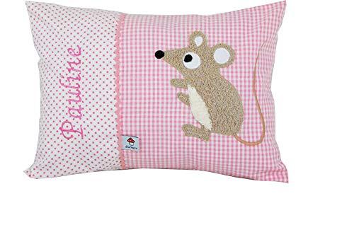 Glückspilz Namenskissen Babykissen I Maus I mit Namen personalisiert I Geschenk zu Geburt, Taufe oder Geburtstag I Rosa (25 x 35 cm)