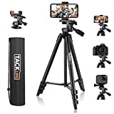 Lightweight Tripod 55-Inch, Aluminum Travel/Camera/Phone Tripod with Carry Bag, Maximum Load Capacity 6.6 LB, 1/4' Mounting Screw for Phone, Camera, Traveling, Laser Measure, Laser Level
