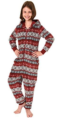 Meisjes jumpsuit overall pyjama lange mouwen - Noors motief - 291 467 97 959, Kleur: rood, Maat: 128