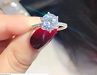 Weishu 925 Sterling Silver Round Perfect Cut 3Ct CZ Cubic Zirconia Promise Halo Engagement Wedding Ring cz Single Stone Wedding Engagement Ring Female Models (US Code 6)