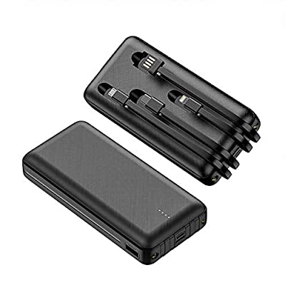 JONKUU 20000mAh Portable Cell Phone Charger with Built in Cables and Flashlight Power Bank External Battery Pack for iPhone Pro iPad Airpods Samsung Nintendo Switch Tablet (Black)