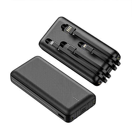Power Bank 20000mAh Tragbares Ladegerät Eingebautes Kabel und LED Taschenlampe Schneller Ladevorgang Externer Akku Kompatibel mit iPhone iPad Samsung Pixel Smartphone Tablette und mehr