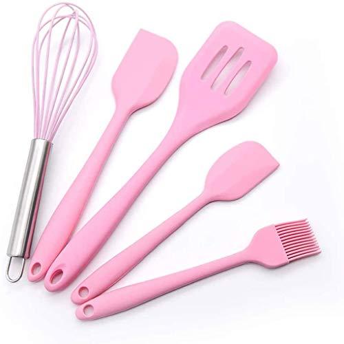 SHYPT 5pcs Spatula Silicone ustensiles ustensiles ustensiles Cuisson Outil de Cuisson de Cuisson Alimentaire de qualité Silicone Cuisine ustensiles Set Accessoires de Cuisine (Color : Pink)