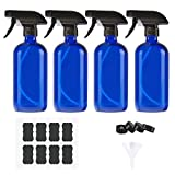 Empty Glass Spray Bottles of Blue 4 Pack 16 oz for Cleaning Solutions, Misting Glass Spray Bottles for essential oils, Aromatherapy, Perfume, Alcohol Sterilizer, with 4 Free Sprayers, 4 Caps