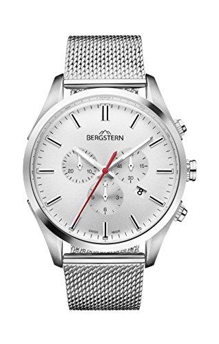 Orologio uomo bergstern con cinturino argento e schermo in bianco b050g237