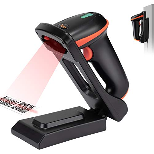 Tera Barcode Scanner 1D 2D QR Wireless 2.4 GHz + USB 2.0 Cablato Lettore di Codici a Barre con Il Supporto Pieghevole Regolabile e la Base di Ricarica Possono Essere Montati a Parete, D5100-Z