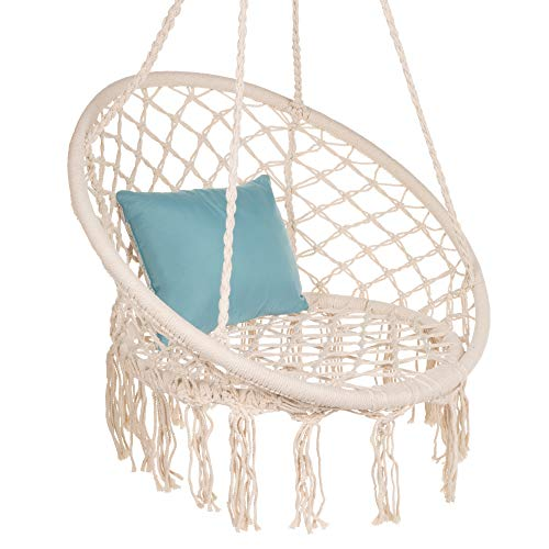Best Choice Products Handwoven Cotton Macramé Hammock Hanging Chair Swing for Indoor & Outdoor Use w/Backrest, Fringe Tassels, 265 Pound Capacity - Beige