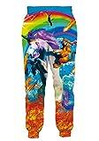 RAISEVERN Men Women Jogger Pants Funny Sweatpants 3D Rainbow Cat Unicorn Fire Printed Tracksuit Cool Sportswear Jogging Trousers with Drawstring Pockets