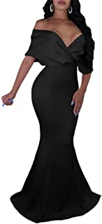 Women Sexy V Neck Off The Shoulder Evening Gown Fishtail Maxi Dress