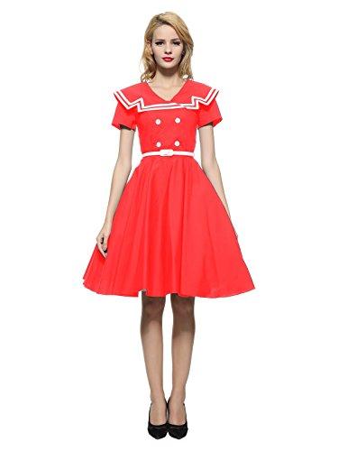 Maggie Tang 1950er 60er Jahre Rockabilly Vintage Gossip Girl Swing Ballkleid Kleid -  Rot -  XX-Large