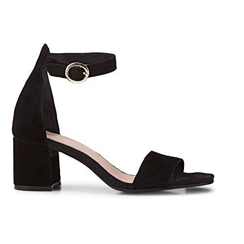 Cox Damen Riemchen-Sandalette aus Leder, entzückende Sandale in Schwarz mit Blockabsatz Schwarz Rauleder 38