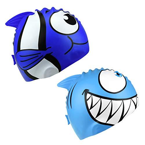 SIVENKE 2er Set Silikon Badehaube Badekappe Hai Fisch Shark Bademütze Schwimmkappe Schwimmmütze Swimming Cap für Mädchen Jungen Kinder