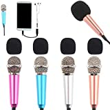 4Pcs Mini Microphone with Omnidirectional Stereo Mic for Voice Recording, Portable Microphone Chatting and Singing on Apple Phone, Android