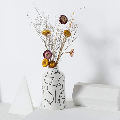 Kimdio Ceramic Vase Irregular face Design Decorative Flower Vase for Home Decor Living Room, Home, Office, Centerpiece,Table and Wedding
