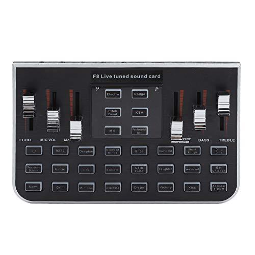 VBESTLIFE Audiomixer, Tragbare Externe Mischkarte für USB-Soundkarten mit 4 Variant-Tönen für PC, Live-Aufnahme, Home-KTV, Karaoke, Voice-Chat