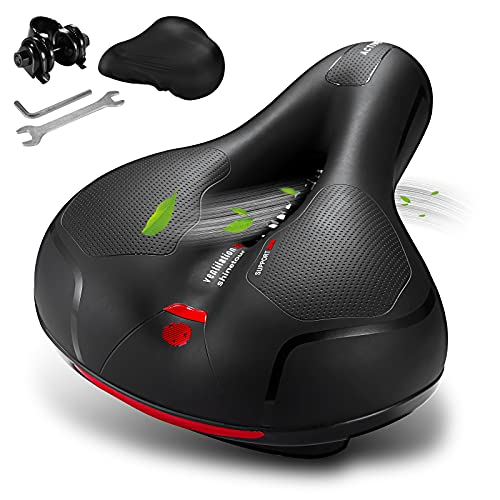 GREAN Comfortable Bike Seat Cushion -Bicycle Seat for Men Women with Dual Shock Absorbing Ball Memory Foam Waterproof Wide Bicycle Saddle Fit for Stationary/Exercise/Indoor/Mountain/Road Bikes