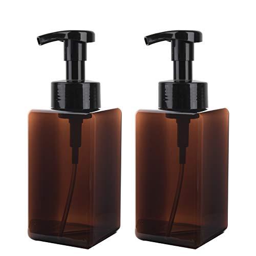 450 ml Dispenser Sapone Schiuma Set da 2 Erogatore del Sapone Liquido in Plastica Pompa Bottiglie per Bagno Cucina, Marrone