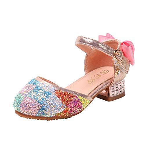 Sandalias de Princesa para niñas Tacones Altos de Cristal de Verano Vestido...