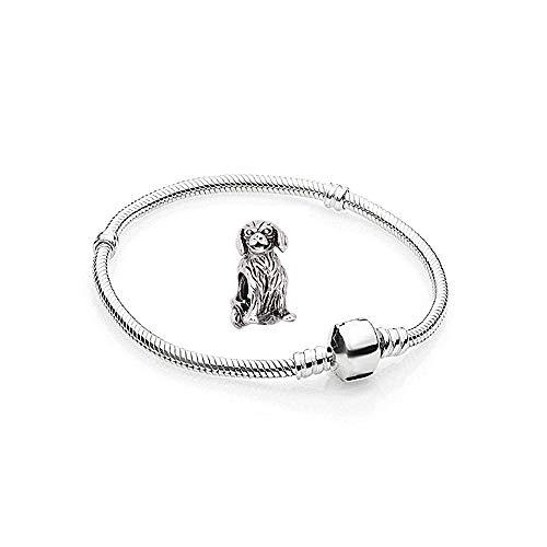 Charms Silber Hunde Edelstahl - 1 Armband und 1 Anhänger Starter Set Angebot - Damen Schmuck bettelarmband Pandora Style Kompatibel Charm Beads Bead Alle größe Tiere Herz Liebe 19cm