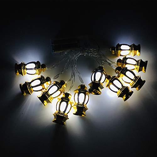 Achicoo Led-lantaarnvorm, lantaarn voor India, Bairam kleine, goudkleurige behuizing, wit licht 3 m, 20 knipperende leds